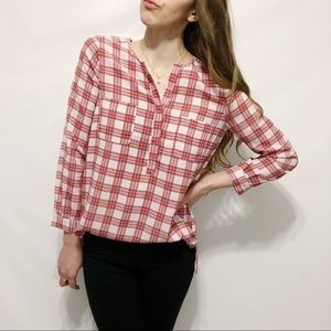 NWT Joie Plaid Checked Henley Crepe Top